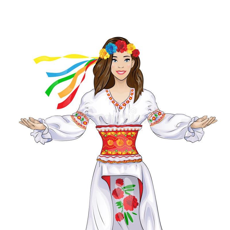 Geste de main bienvenu de fille dans le ressortissant ukrainien illustration libre de droits