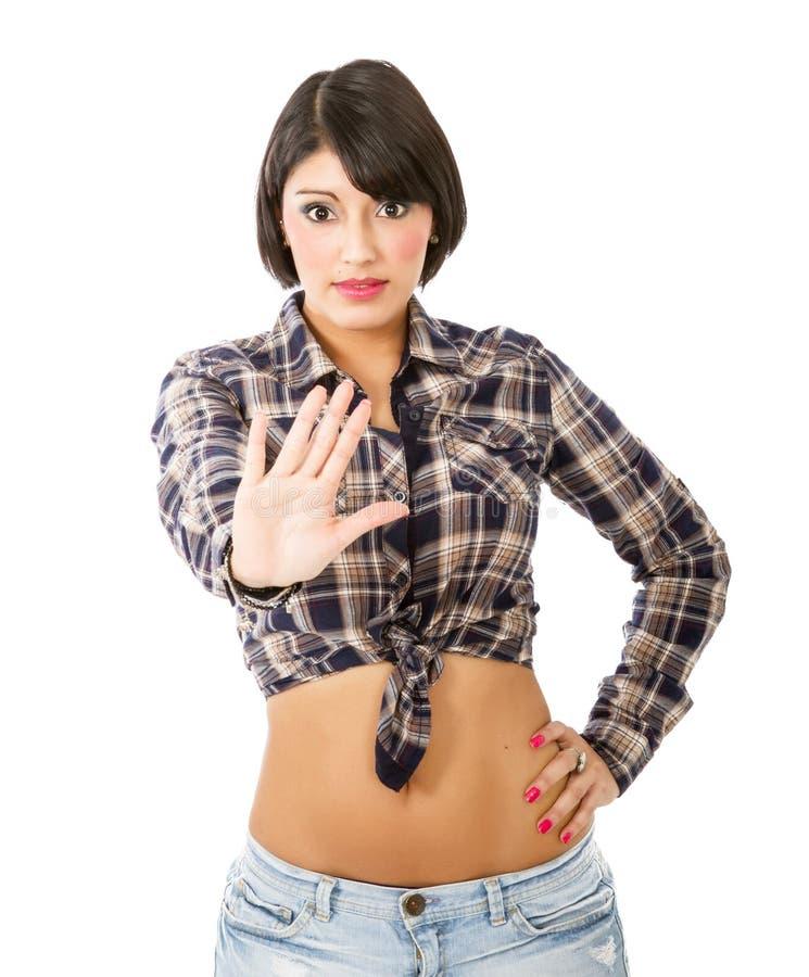 Geste latin d'arrêt de fille image libre de droits