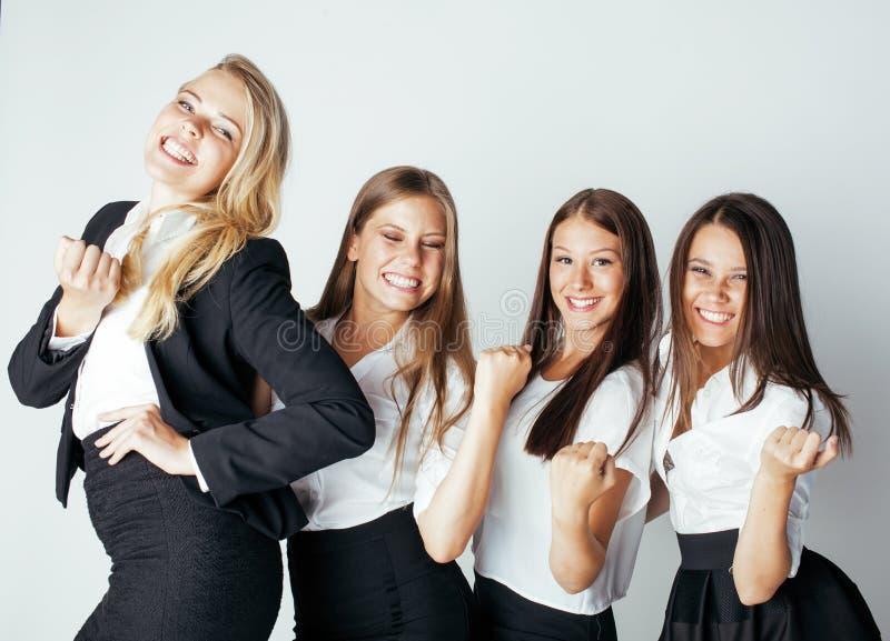Geste parlant d'équipe de femmes d'hommes d'affaires image stock