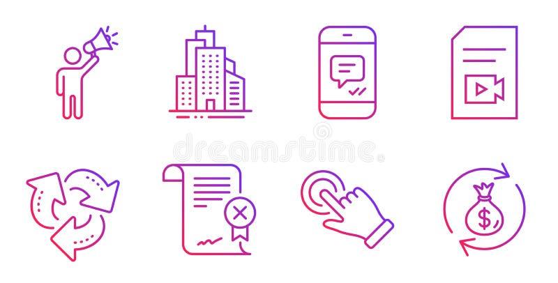 Geste réutilisez, d'écran tactile et ensemble d'icônes de bâtiments de gratte-ciel Vecteur illustration libre de droits