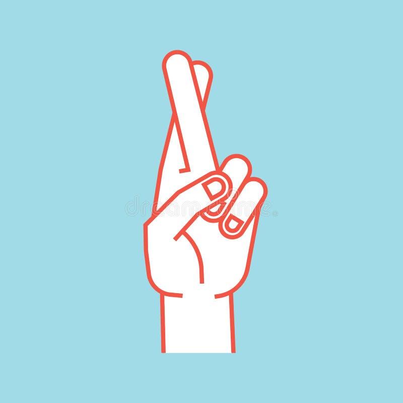 Geste Signe chanceux Main stylisée avec deux doigts croisés Doigt moyen dans l'avant illustration libre de droits