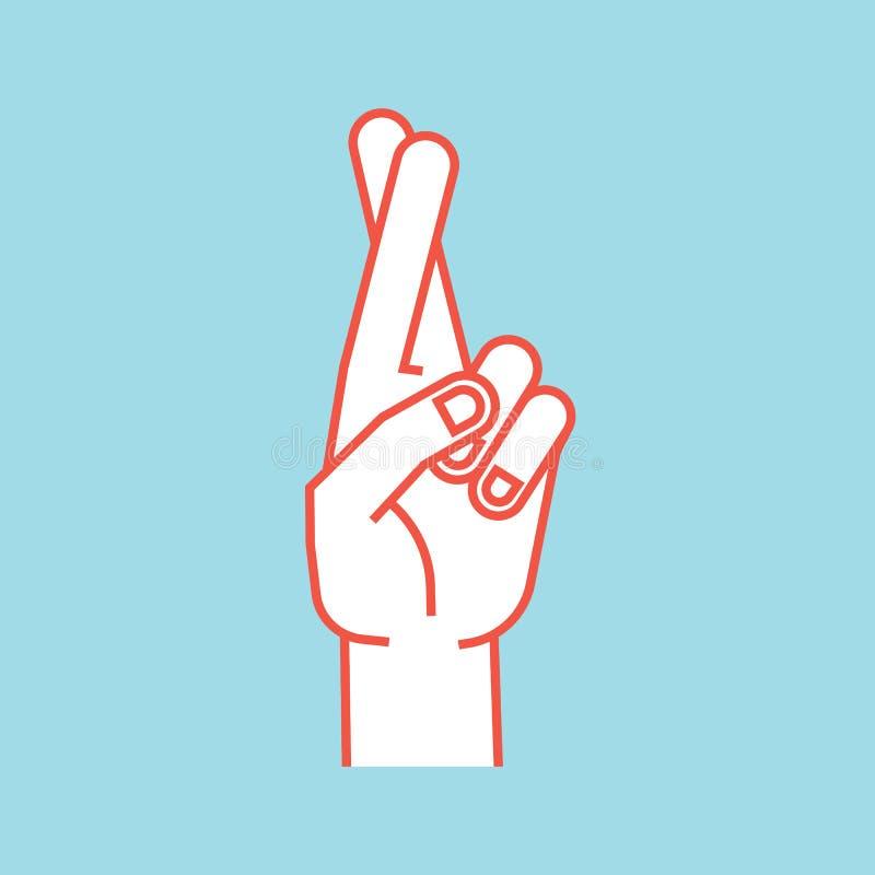 Geste Signe chanceux Main stylisée avec deux doigts croisés Index dans l'avant illustration libre de droits