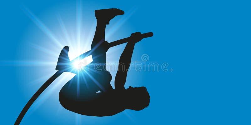 Geste sportif du sauteur de poteau à la chambre forte de poteau illustration stock