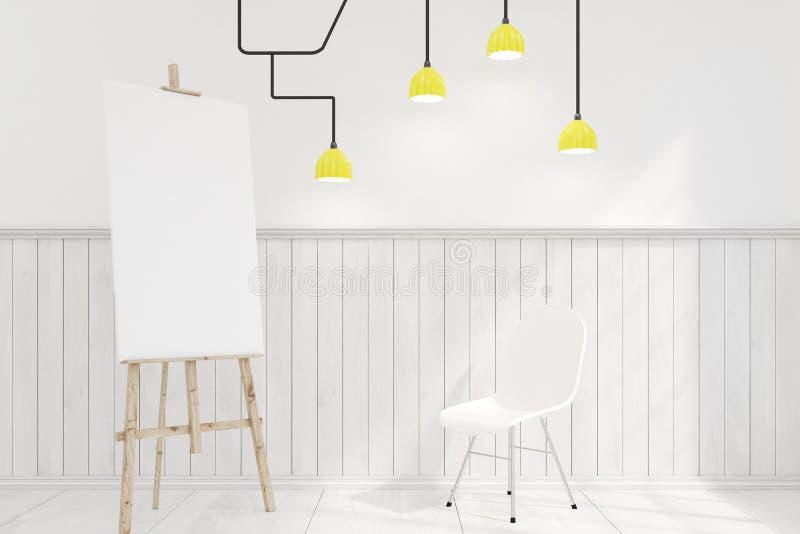 Gestell in einem Raum mit einem Stuhl und einer Lampe stock abbildung