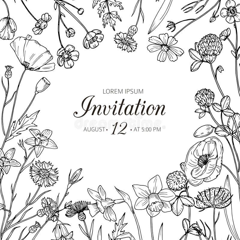 Gestemd beeld Huwelijksuitnodiging met bloemen van de de zomer de wilde weide Vectorkaart van de de lente de bloemen retro schets royalty-vrije illustratie