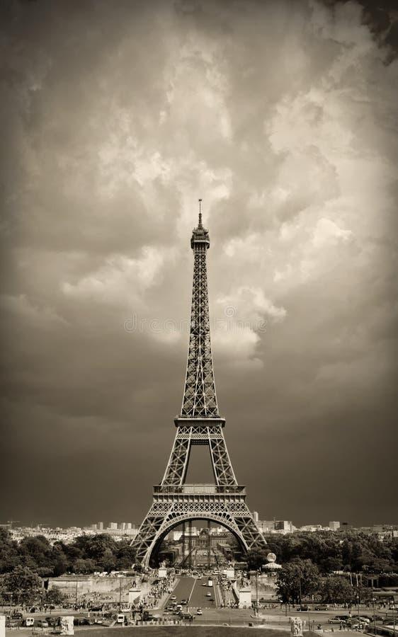 Gestemd de torensepia van Eiffel stock fotografie