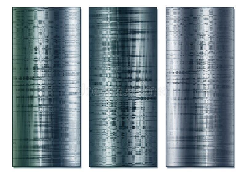 Gestemde Staaleffect Abstracte Triptiek stock afbeelding