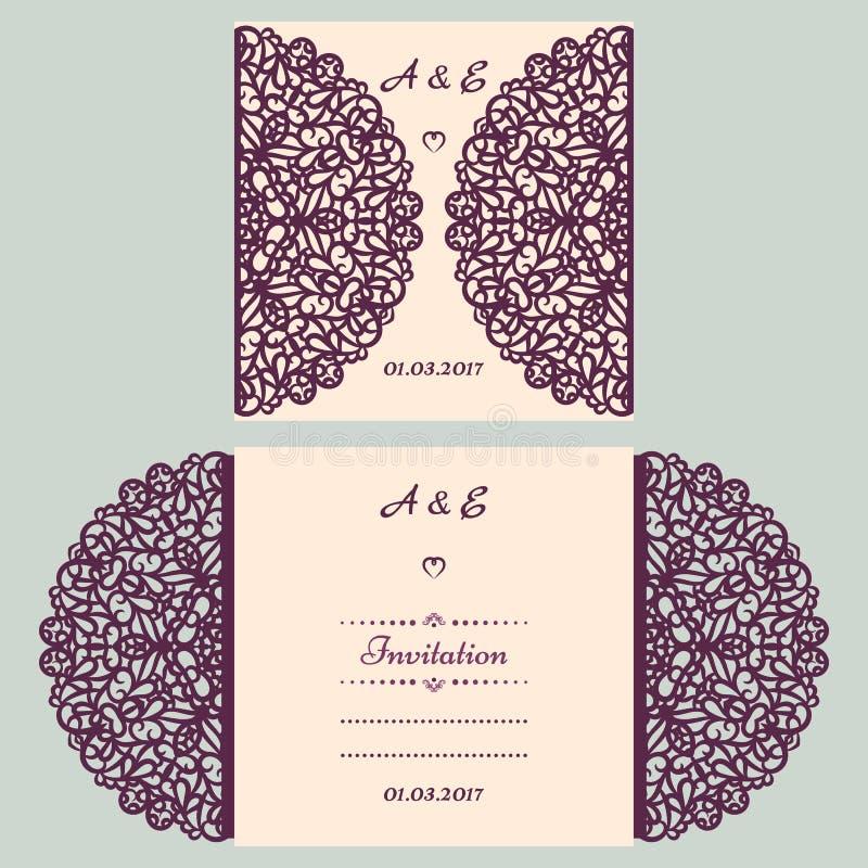 Gestempelschnittene Heiratseinladungskartenschablone Papier herausgeschnittene Karte mit Spitze Schöne Laser-Schnitteinladungskar lizenzfreie abbildung