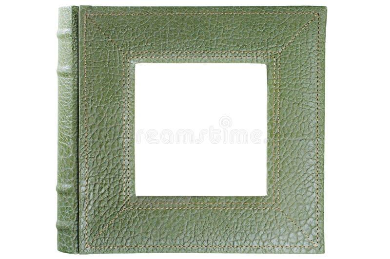 Gestempelte lederne Albumabdeckung, die das quadratische Fensterinnere lokalisiert auf Weiß gestaltet lizenzfreies stockbild