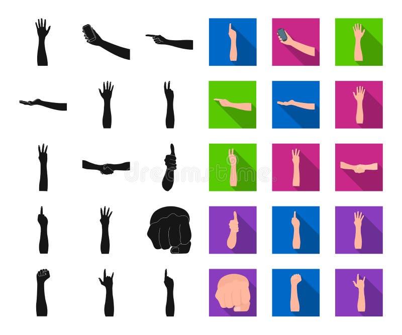Gesten und ihr Bedeutungsschwarzes, flache Ikonen in gesetzter Sammlung für Entwurf Emotionales Teil des Kommunikationsvektorsymb stock abbildung