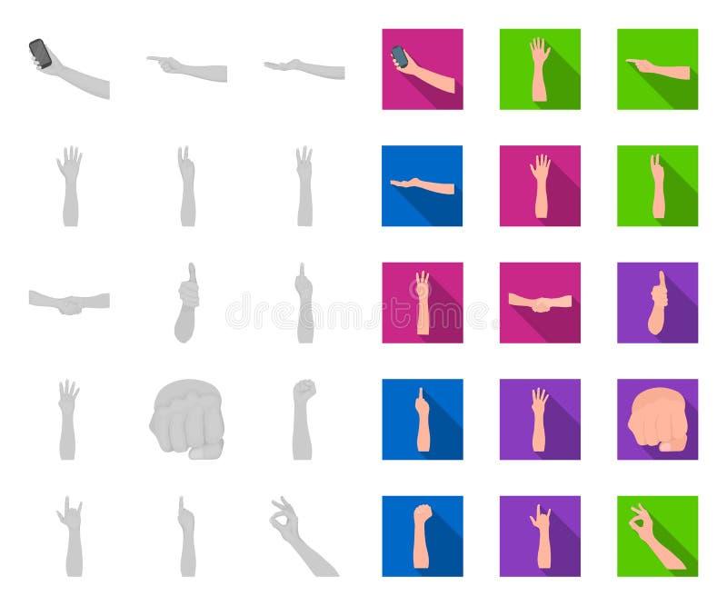 Gesten und ihre Bedeutung mono, flache Ikonen in gesetzter Sammlung für Entwurf Emotionales Teil des Kommunikationsvektorsymbols lizenzfreie abbildung