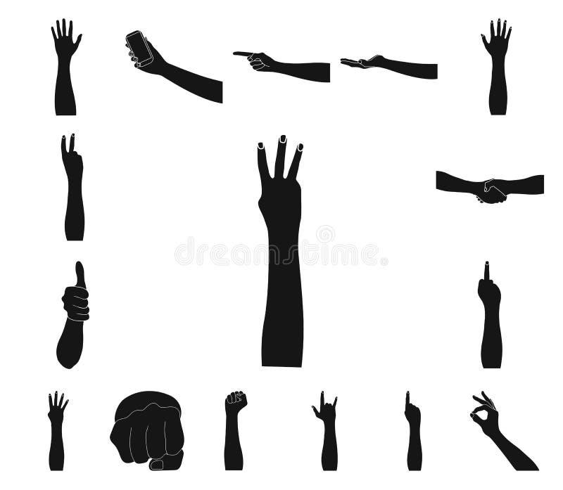Gesten und ihre Bedeutung schwärzen Ikonen in der Satzsammlung für Design Emotionales Teil des Kommunikationsvektor-Symbolvorrate stock abbildung