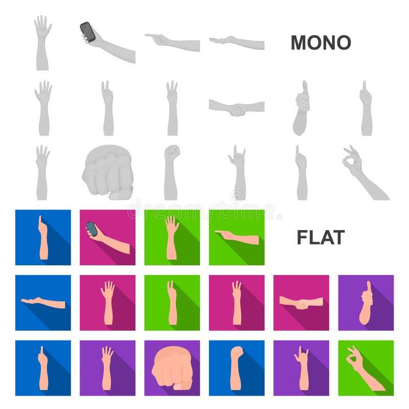 Gesten und ihre flachen Ikonen der Bedeutung in der Satzsammlung für Design Emotionales Teil des Kommunikationsvektor-Symbolvorra lizenzfreie abbildung