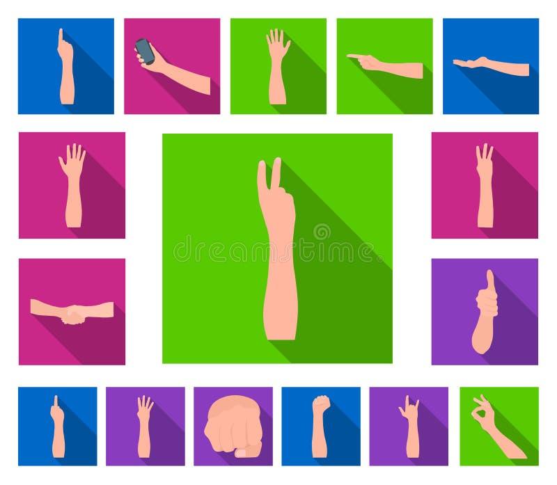Gesten und ihre flachen Ikonen der Bedeutung in der Satzsammlung für Design Emotionales Teil des Kommunikationsvektor-Symbolvorra vektor abbildung