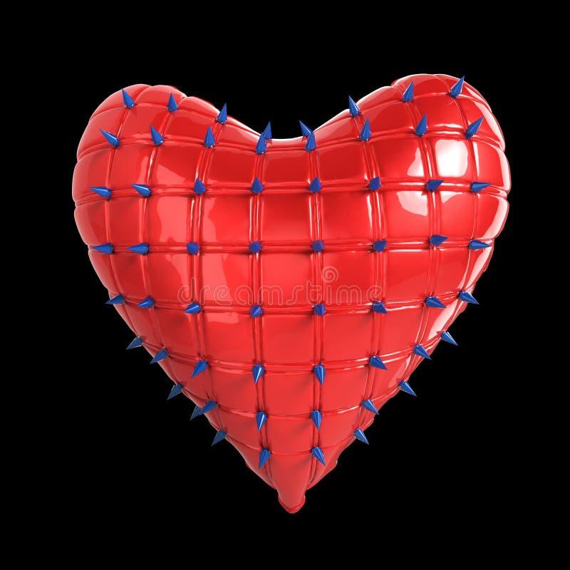 gestepptes Herz mit Silber, verworrenes Metall, Stahlspitzen auf Oberfläche, lokalisierte schwarze Hintergrund-Wiedergabe BDSM-Ar stock abbildung