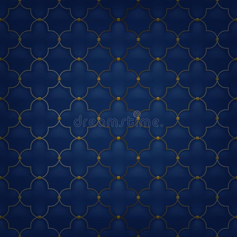 Gestepptes nahtloses Muster der einfachen Arabeske dunkel lizenzfreie abbildung