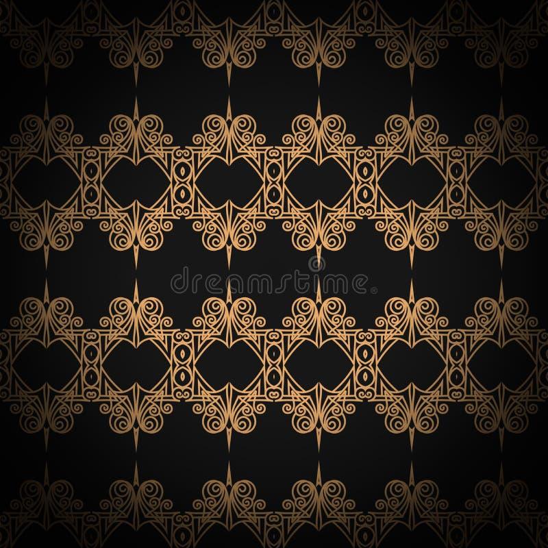 Gestepptes nahtloses Muster Schwarze Farbe Goldenes metallisches Nähen auf Gewebe stock abbildung
