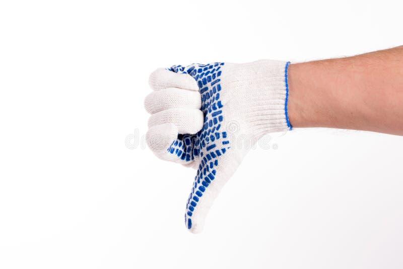 Gester av handen i handsken fotografering för bildbyråer