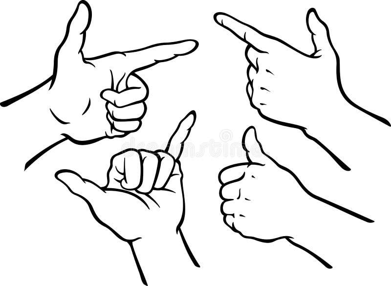gester hand seten stock illustrationer