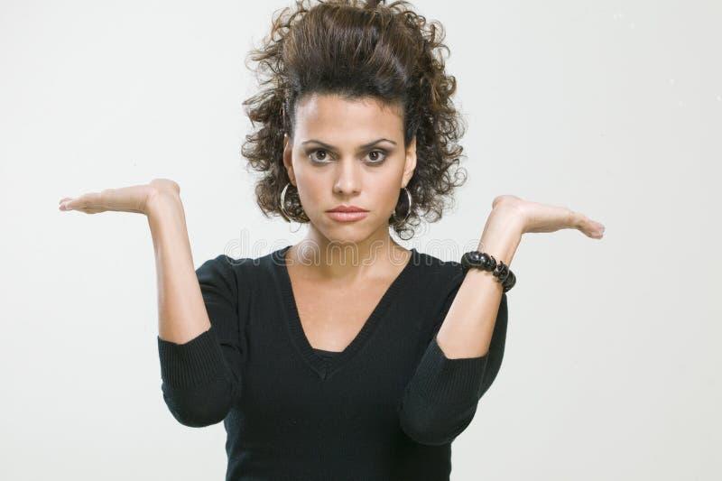 gester som gör kvinnan arkivfoto