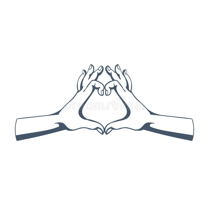 Gester: symbolisera förälskelse, affektion, sympati, värme för person, bra inställning royaltyfri illustrationer