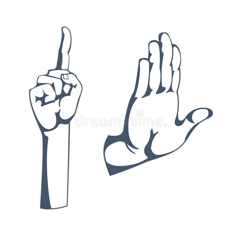 Gester: tecken av uppmärksamhet, stopp och att tänka och att varna och att hälsa, klyftig idé vektor illustrationer