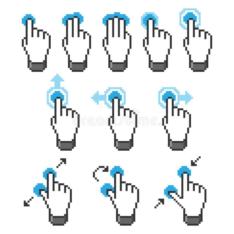 Gestes d'écran tactile de Pixel illustration stock