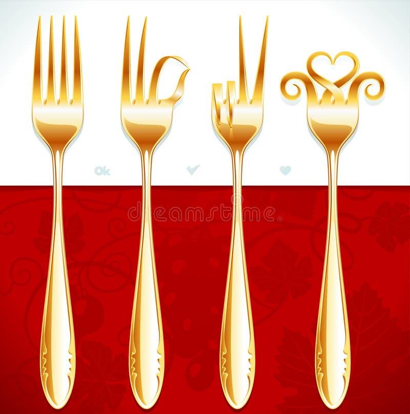 Gestes d'or de fourchette illustration de vecteur