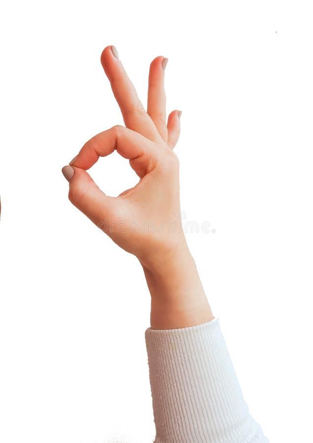 Gestes de main caucasiens femelles multiples d'isolement au-dessus du fond blanc photo stock