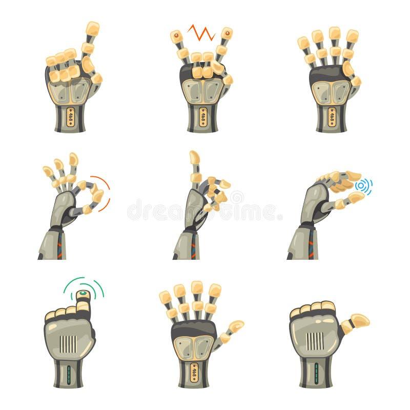 Gestes de main de robot Mains robotiques Symbole mécanique d'ingénierie de machine de technologie Gestes de main réglés Grand bra illustration libre de droits