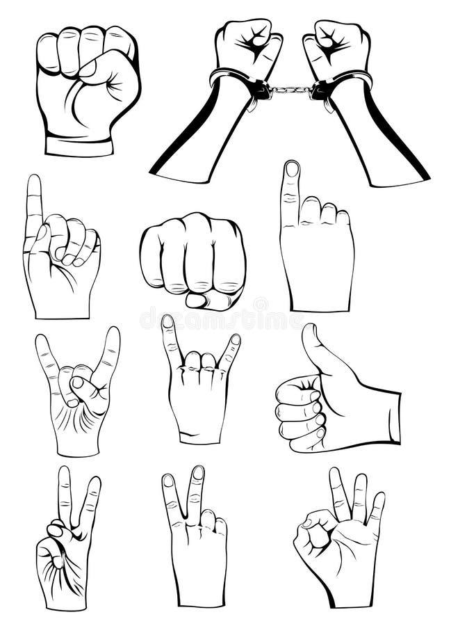 Gestes de mains illustration de vecteur