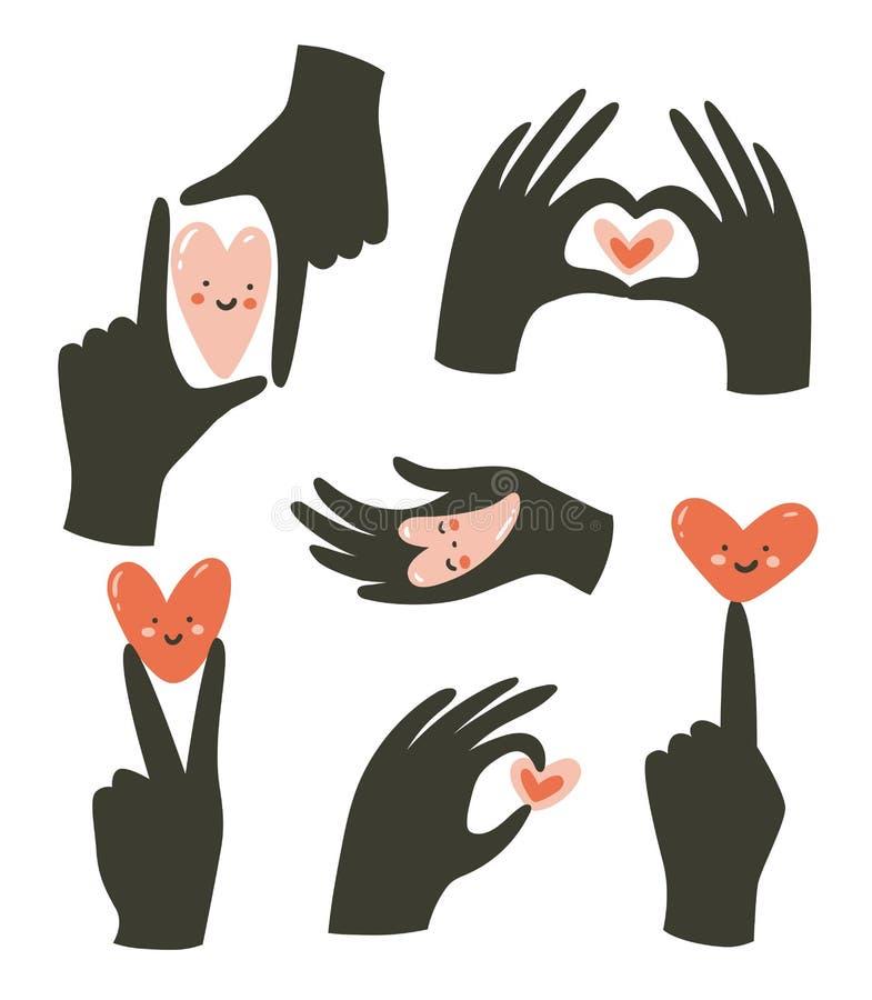 Gestes de mains avec le coeur d'isolement sur le fond blanc Gestes de l'amour et du bonheur illustration libre de droits