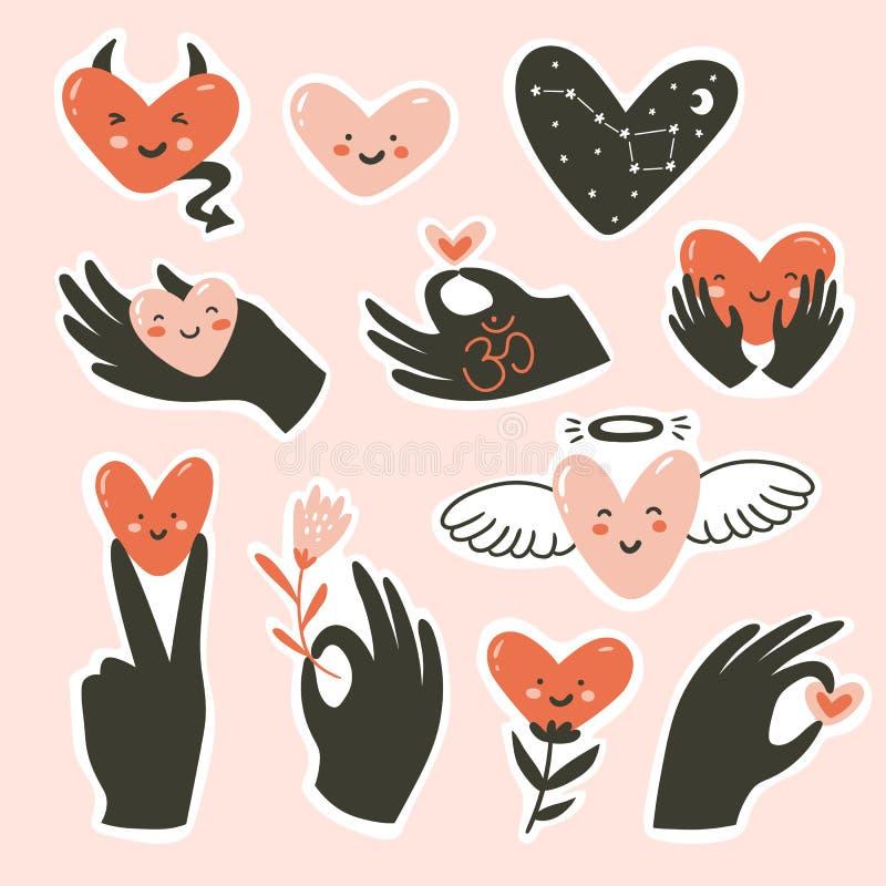 Gestes de mains avec le coeur d'isolement sur le fond rose Illustration de vecteur Gestes de l'amour et du bonheur illustration de vecteur