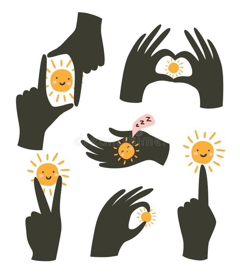 Gestes de mains avec le soleil d'isolement sur le fond blanc Illustration de vecteur Gestes de l'amour et du bonheur illustration stock