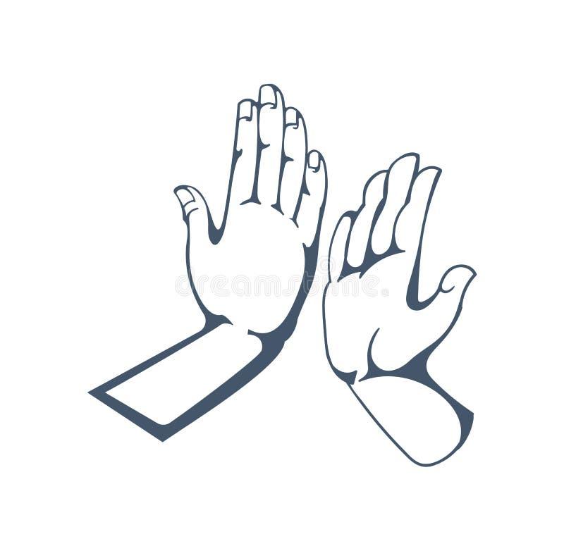 Gestes : obtenez cinq, applaudissements dans des mains, amitié, appui, bonne humeur illustration stock