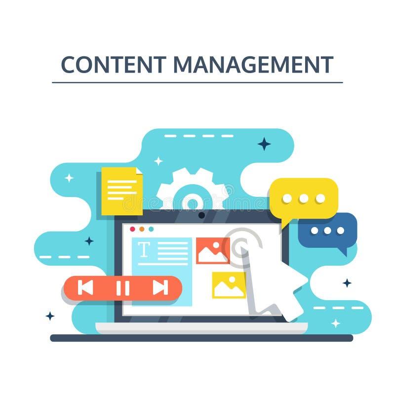 Gestión contenta y concepto Blogging en diseño plano El crear, márketing y distribución de digital - vector el ejemplo stock de ilustración