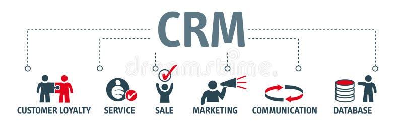 Gestión CRM de la relación del cliente de la bandera stock de ilustración
