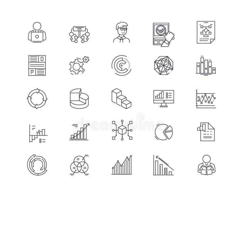 Gestión de datos grande, analytics, nube que computa, base de datos, línea iconos de la inteligencia empresarial Movimientos Edit stock de ilustración
