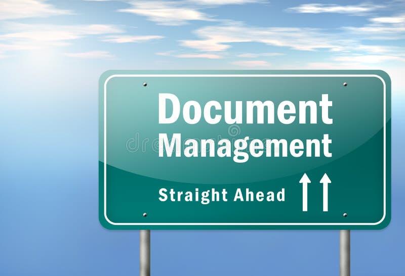 Gestión de documentos del poste indicador de la carretera stock de ilustración