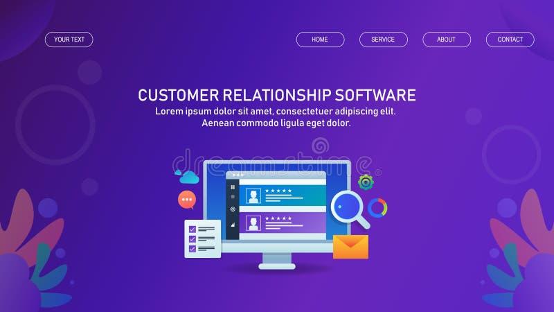 Gestión de la relación del cliente - márketing de CRM- y gestión, concepto de software de la automatización ilustración del vector