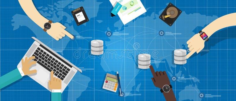 Gestión de la virtualización del almacenamiento de la base de datos ilustración del vector