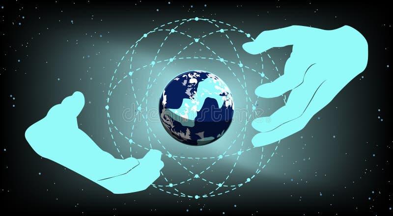 Gestión de negocio de las redes globales Concepto Vecto ilustración del vector