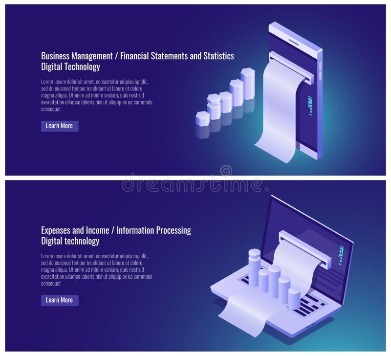 Gestión de negocio, estado y estadísticas financieras, costos y contabilidad de la renta, tratamiento de la información libre illustration