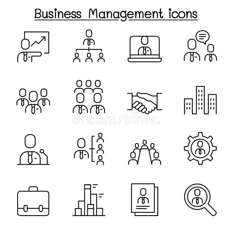 Gestión de negocio, sistema del icono de la administración de empresas en la línea estilo fina libre illustration