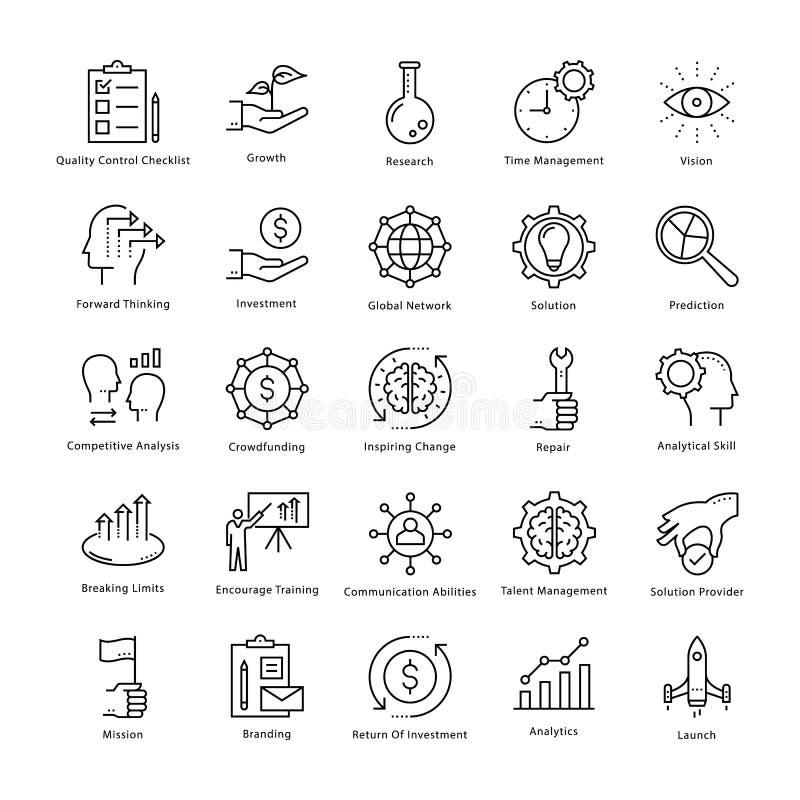 Gestión de negocio y línea iconos 1 del vector del crecimiento libre illustration