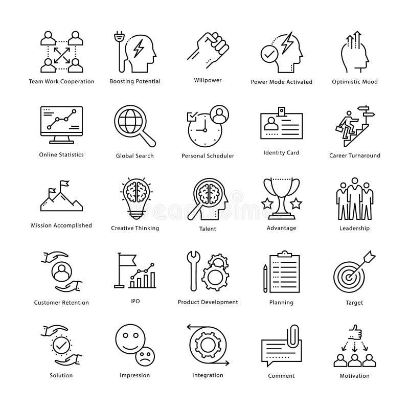 Gestión de negocio y línea iconos 2 del vector del crecimiento stock de ilustración