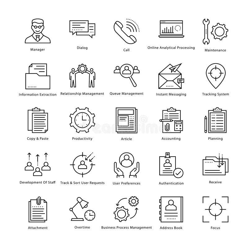 Gestión de negocio y línea iconos 7 del vector del crecimiento ilustración del vector