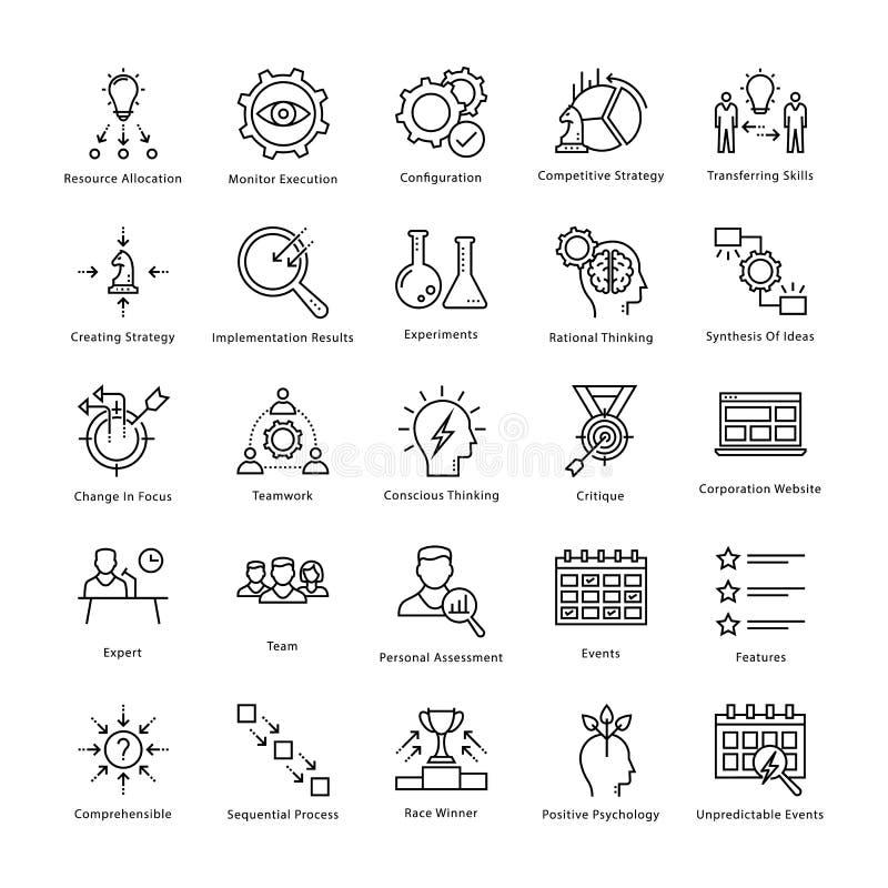 Gestión de negocio y línea iconos 11 del vector del crecimiento stock de ilustración