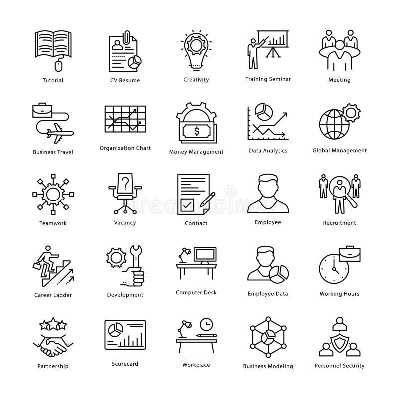 Gestión de negocio y línea iconos 15 del vector del crecimiento libre illustration
