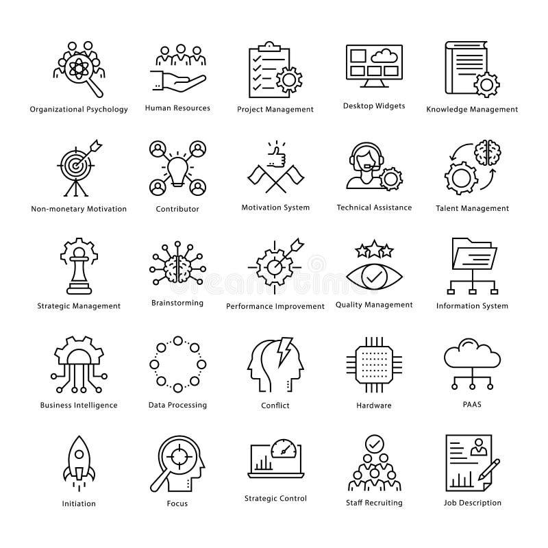 Gestión de negocio y línea iconos 24 del vector del crecimiento ilustración del vector
